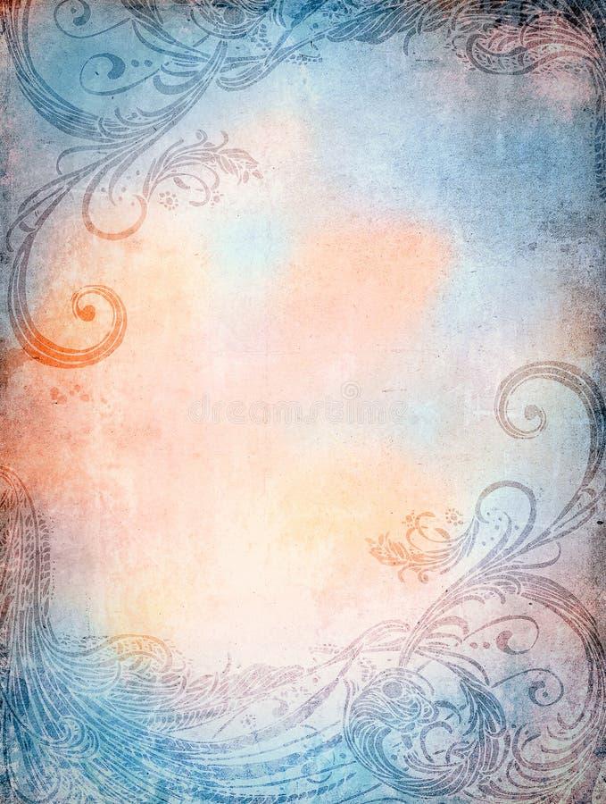 Textura velha com ornamento ilustração royalty free