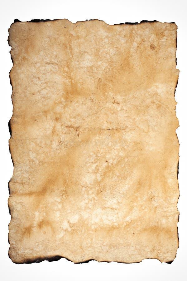 Textura velha do papel com bordas queimadas foto de stock