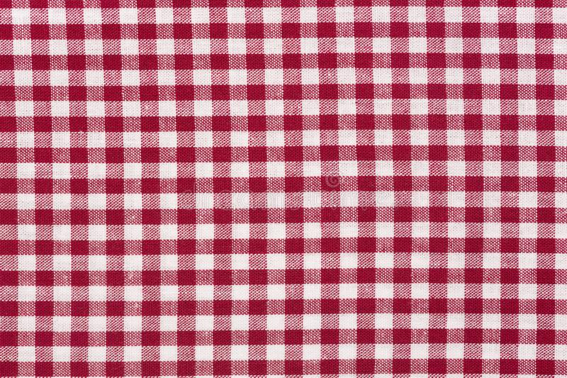 Textura vermelha da toalha de mesa e branca quadriculado da tela imagem de stock royalty free
