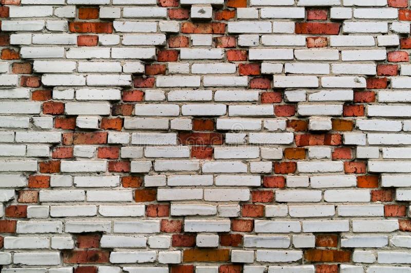 Textura vermelha e branca da parede de tijolo do teste padrão da telha do teste padrão fotografia de stock royalty free