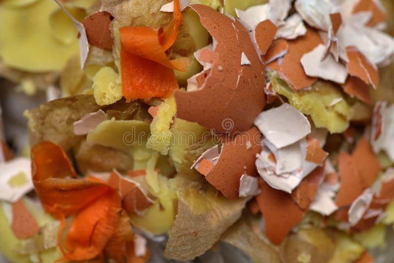 Textura y fondo del primer de la opinión de top de los residuos orgánicos y de la basura foto de archivo