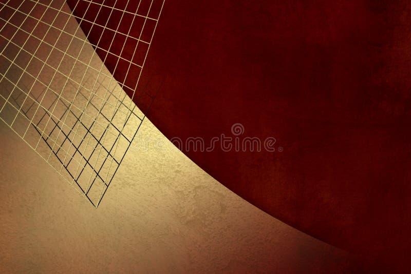 Fondo del grunge del oro con rejilla en la textura roja del papel del vintage - plantilla abstracta de la inversión libre illustration