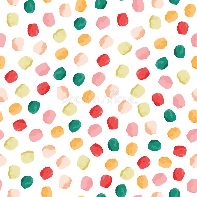 Free Textural Dots Vector Seamless Pattern. Girly Seamless Pattern. Pink, Green, Yellow, Red Circles On White Background Royalty Free Stock Photos - 179529468