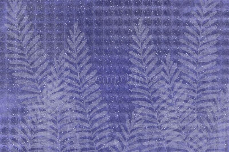 Textural gird speckle fern Japanese style faded denim indigo blue batik look unique design background. Grunge antiqued background dyed look with Japanese style vector illustration