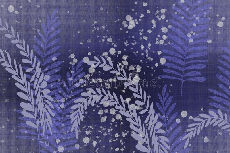 Textural hand drawn fern and leaves dotted Japanese style faded denim indigo blue batik look unique design background. Grunge antiqued background dyed look with vector illustration
