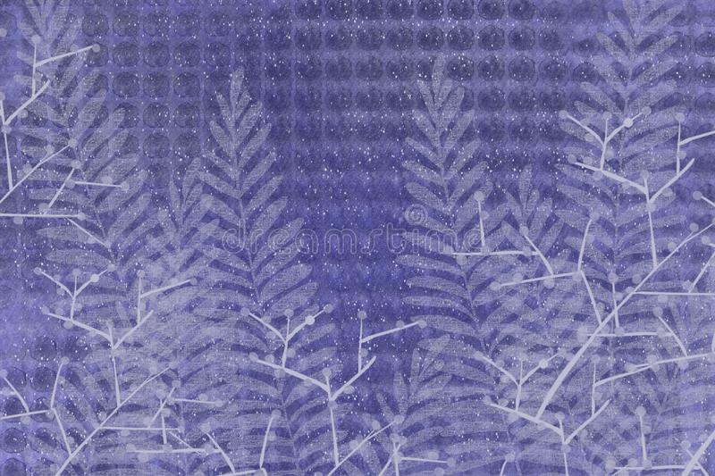 Textural hand drawn fern and leaves dotted Japanese style faded denim indigo blue batik look unique design background. Grunge antiqued background dyed look with stock illustration