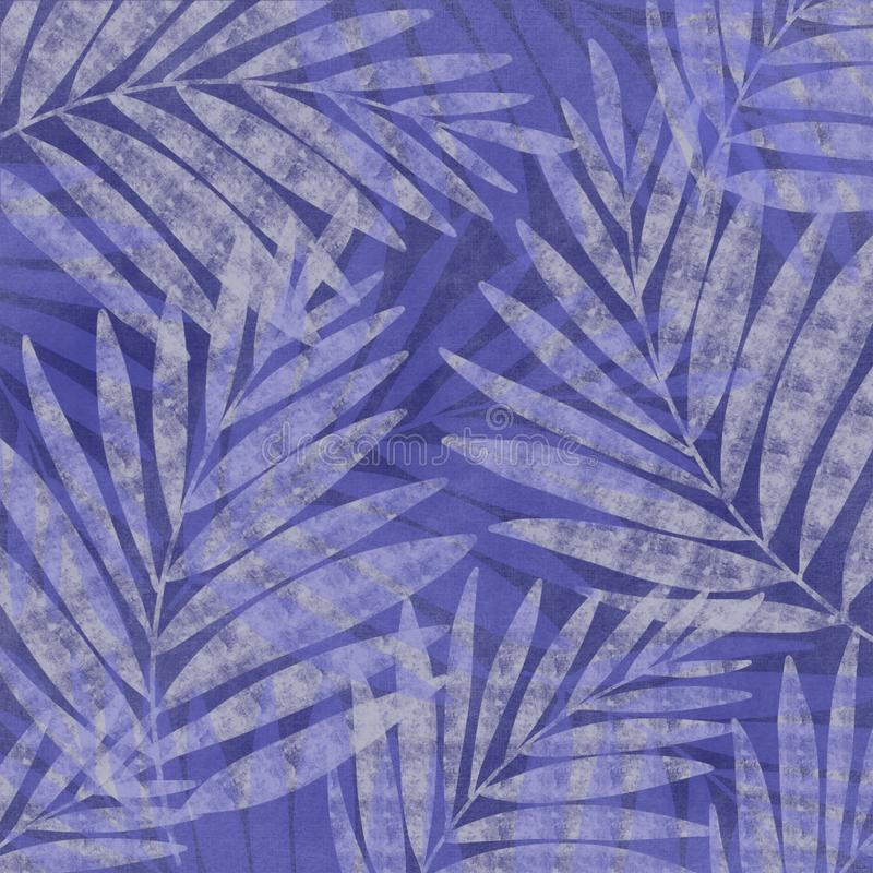 Textural palm frond speckle Japanese style faded denim indigo blue batik look unique design background. Grunge antiqued background dyed look with Japanese style stock illustration