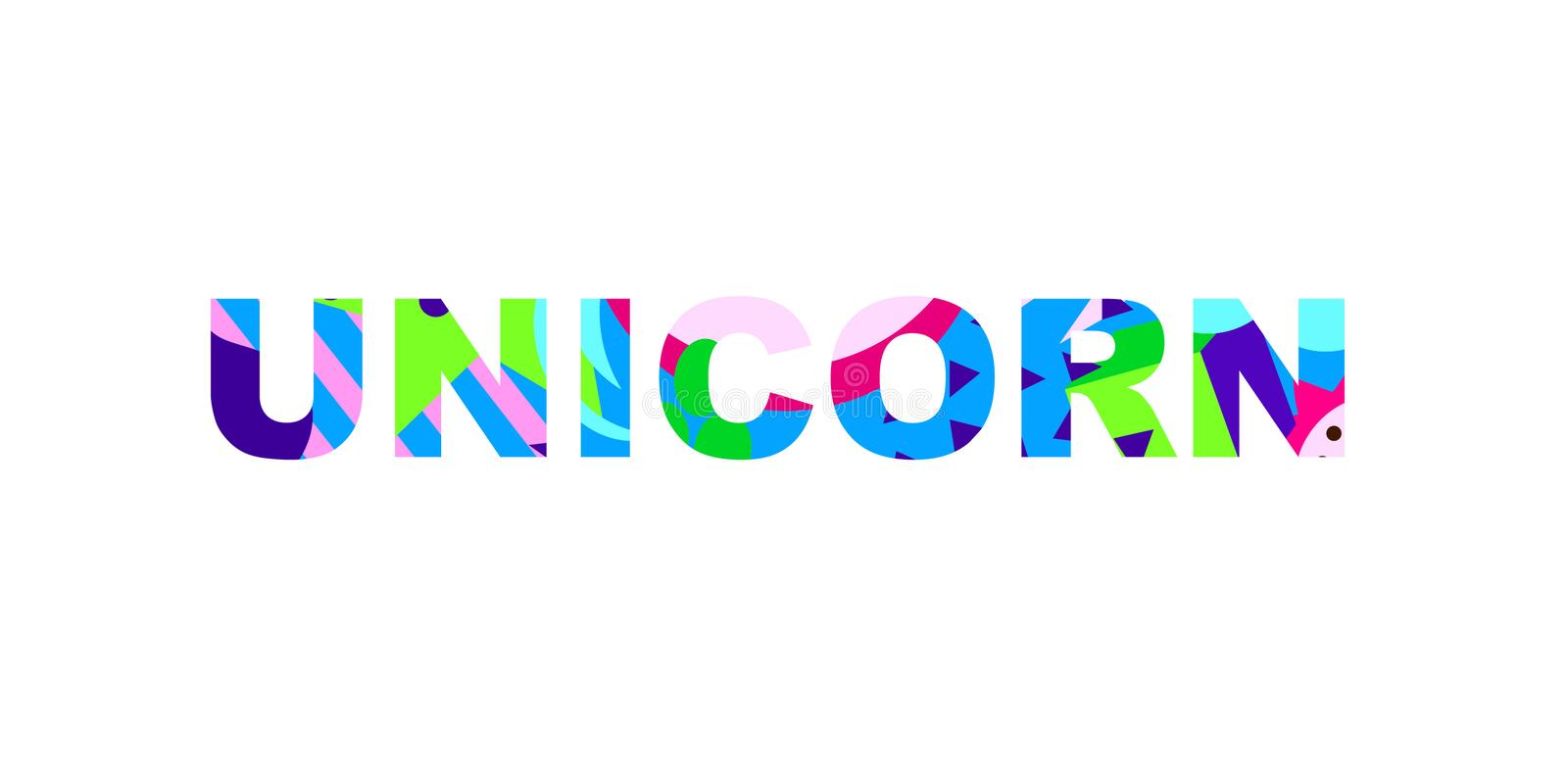 Textural word. Unicorn - inspirational word with a unique bright texture. Good for any printed products, Internet content. Vector illustration royalty free illustration