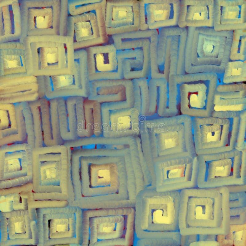 Textural zamazany tło miękkie części barwić gradientowe linie ruszać się po spirali na kwadracie Cyfrowej abstrakcji ilustracja ilustracji