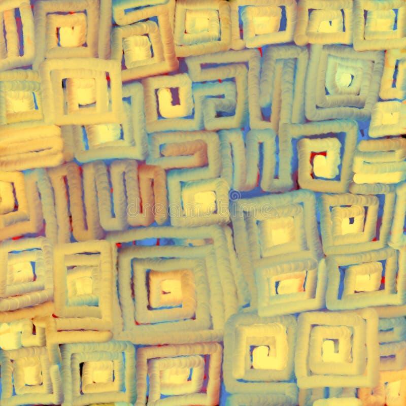 Textural zamazany t?o mi?kkie cz??ci barwi? gradientowe linie rusza? si? po spirali na kwadracie Cyfrowej abstrakcji ilustracja ilustracja wektor