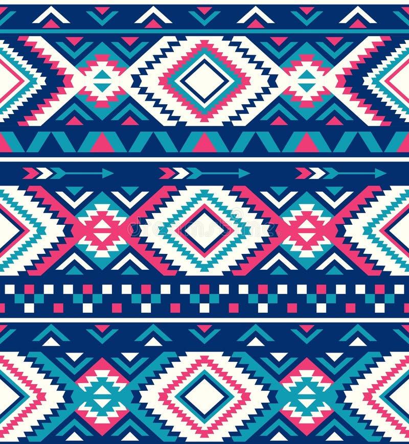 Texturas étnicas sem emenda do teste padrão Teste padrão do nativo americano Cores cor-de-rosa e azuis foto de stock royalty free