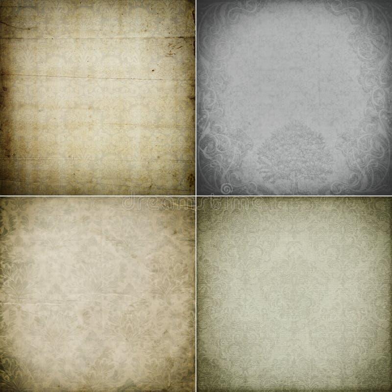 Texturas antigas do papel do vintage da coleção ilustração do vetor