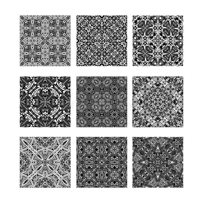 Texturas blancos y negros del ornamental stock de ilustración
