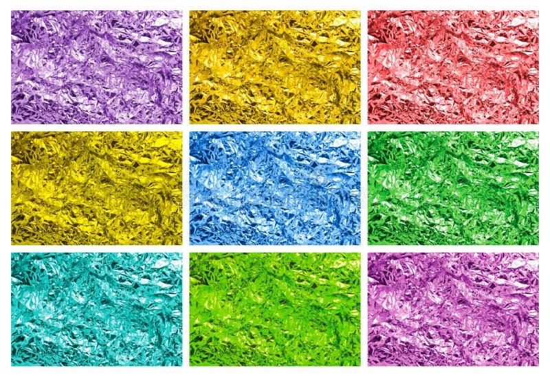 Texturas coloridas da folha de estanho imagens de stock