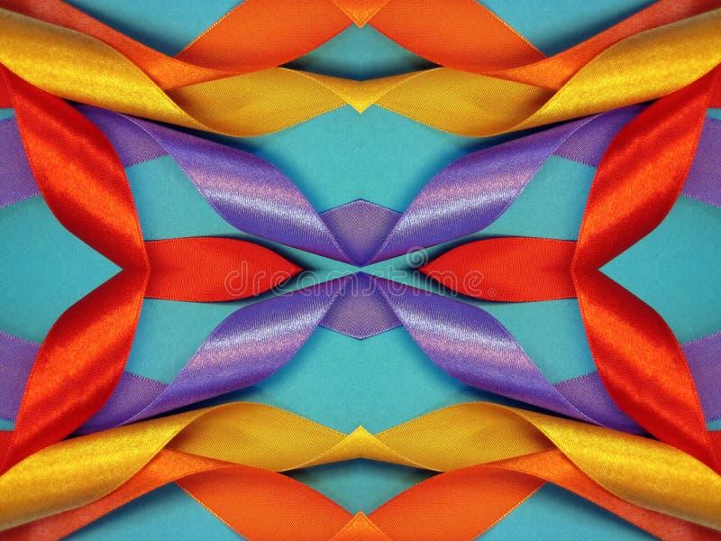 Texturas coloridas de las cintas de satén fotografía de archivo libre de regalías