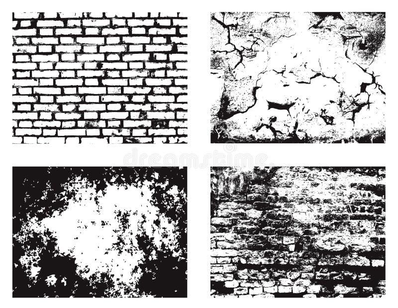 Texturas da parede de Grunge ajustadas ilustração do vetor
