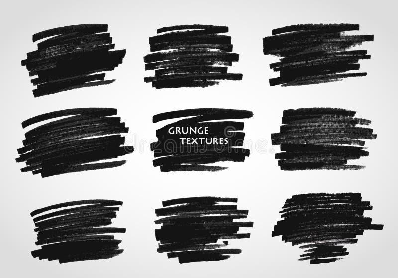 Texturas de Grunge Cursos da escova do vetor Giz e carvão vegetal quadro ilustração royalty free