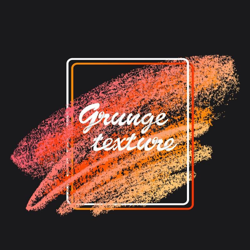 Texturas de la tiza y del carb?n de le?a Movimientos del cepillo del vector Colores en colores pastel suaves Marco decorativo stock de ilustración