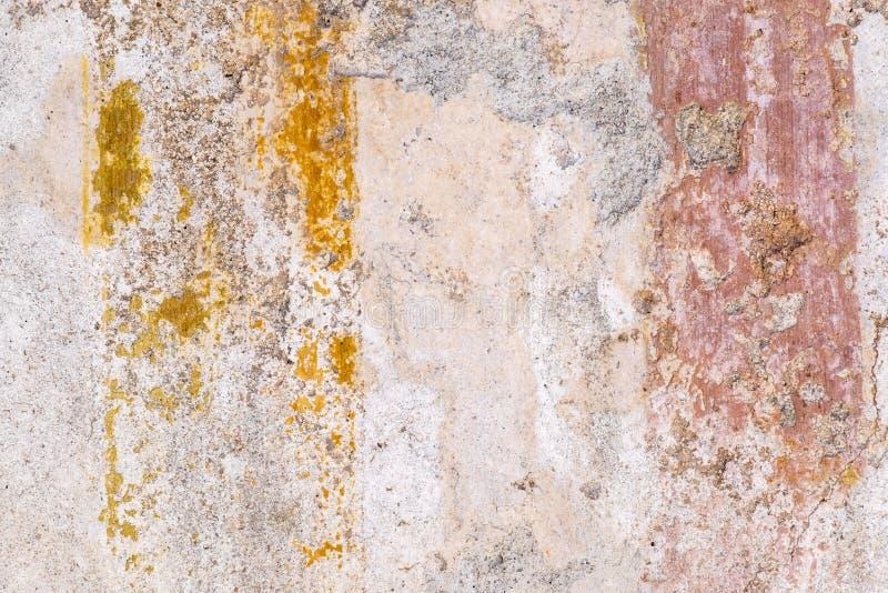Texturas de las paredes del color de las ruinas antiguas de Pompeya foto de archivo libre de regalías