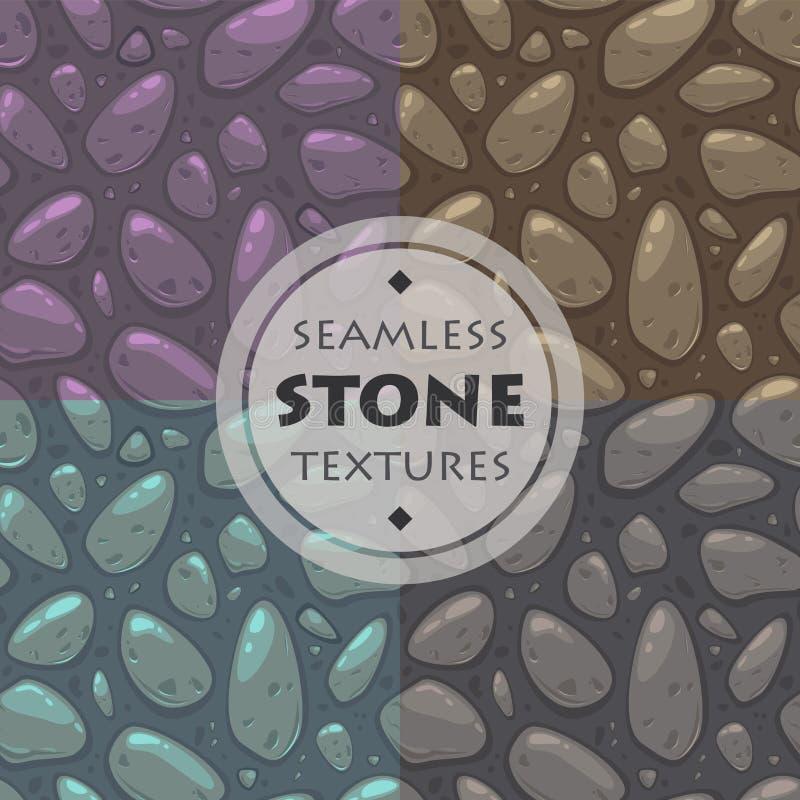 Texturas de pedra ajustadas ilustração stock