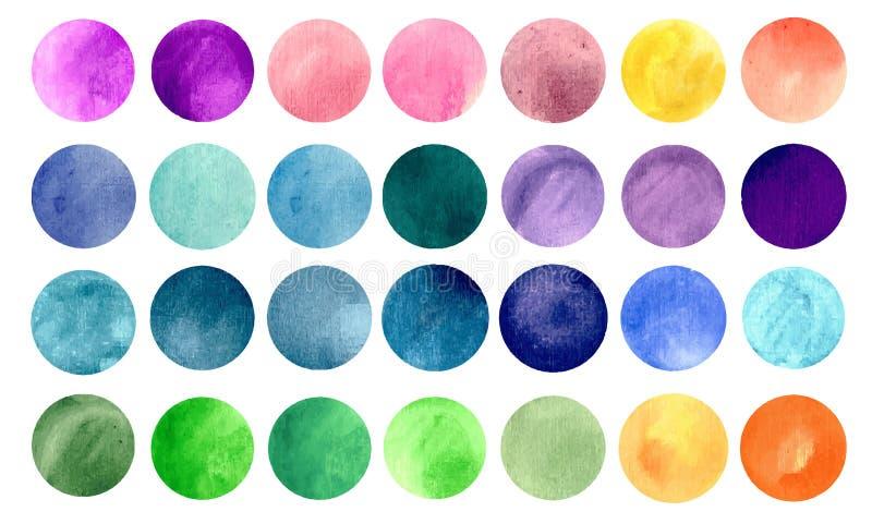 Texturas del círculo del Watercolour stock de ilustración