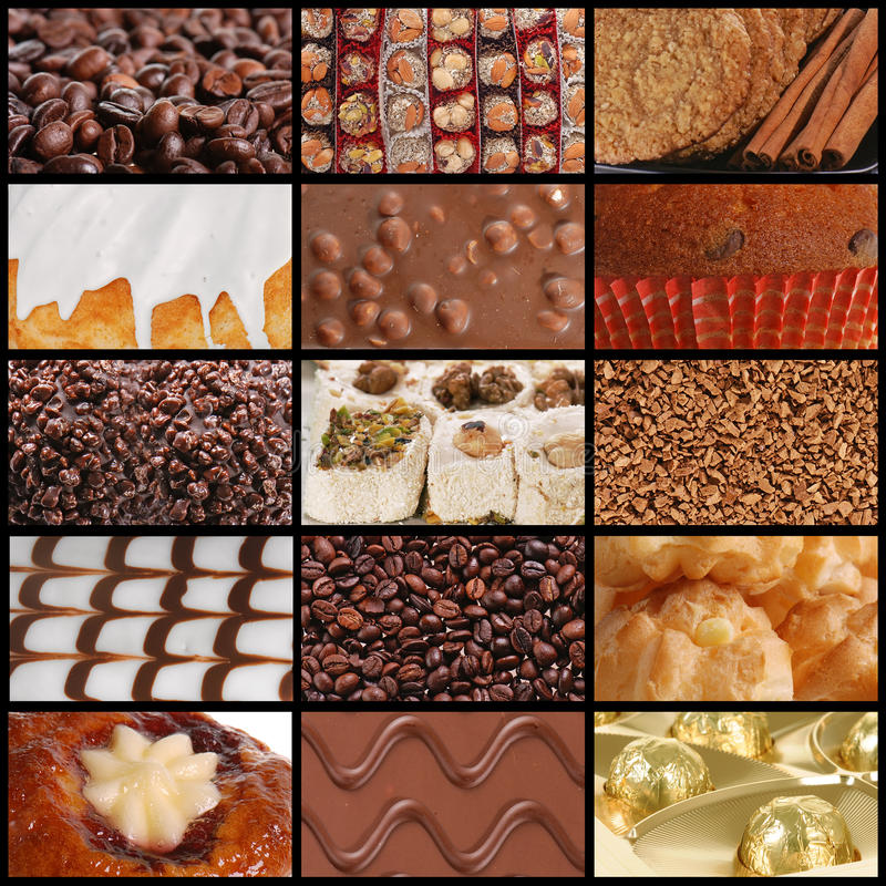 Texturas del chocolate y de los dulces del café imagen de archivo