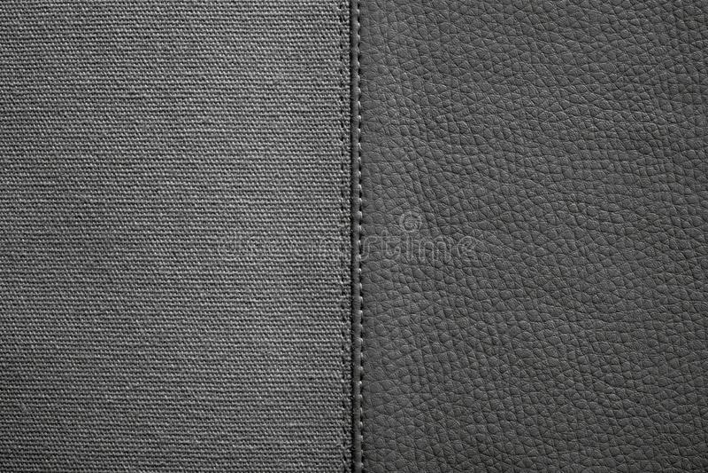 Texturas del color negro de la tela y del cuero imagen de archivo libre de regalías