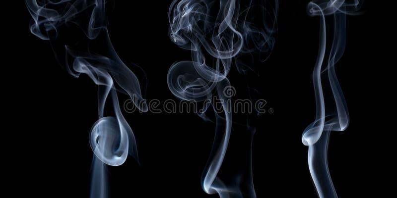 Texturas del humo aisladas en negro foto de archivo libre de regalías