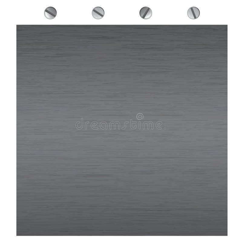 Texturas del metal del vector con los tornillos stock de ilustración