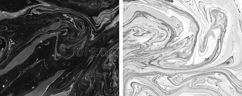 Texturas do mármore do vintage Arte finala criativa Pinturas de ?leo misturadas ilustração stock