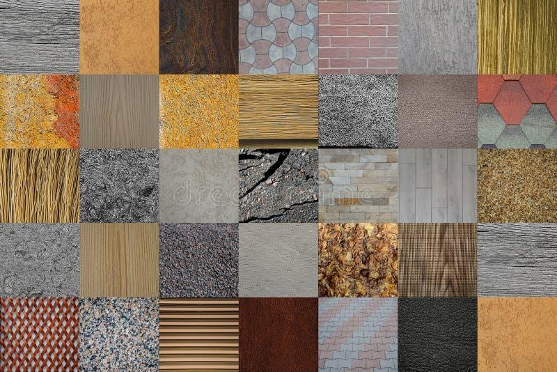 Texturas e fundos Natural e abstrato Madeira, oxidação, couro, pavimentos, emplastro da fachada, pedra, tijolo, asfalto, telhas M imagens de stock royalty free