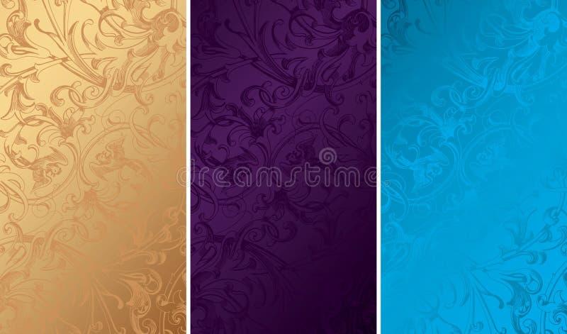 Texturas florales del fondo de la vendimia stock de ilustración