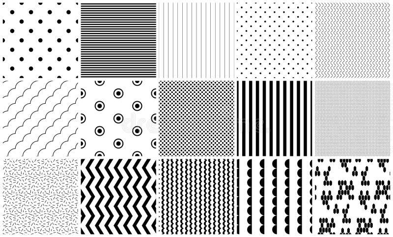 Texturas geométricas preto e branco do vetor sem emenda do teste padrão ilustração do vetor