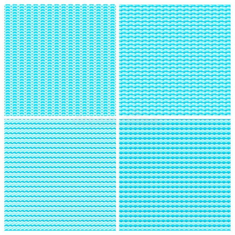 Texturas incons?tiles del fondo del vector de las ondas de agua azul fijadas ilustración del vector