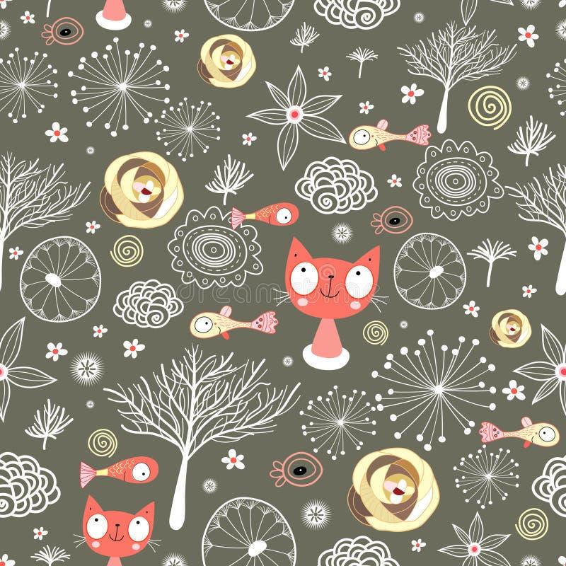 texturas naturais com gatos e peixes   ilustração do vetor