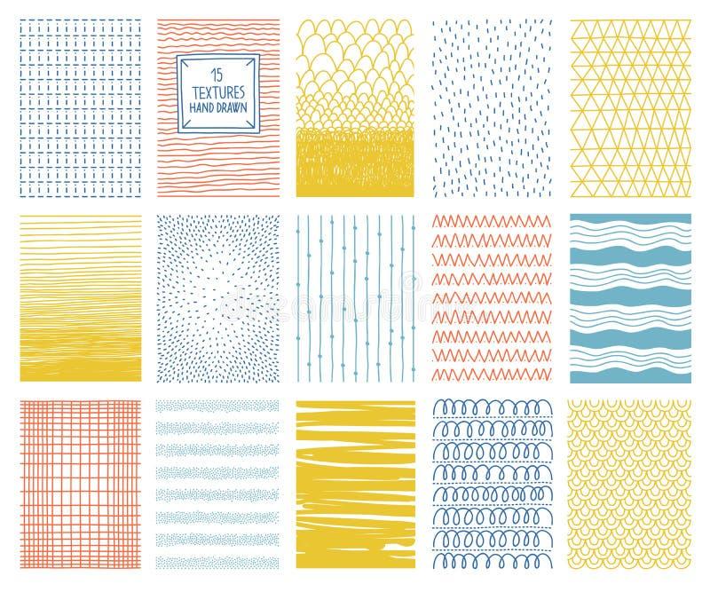 Texturas quadradas coloridas tiradas mão do vetor com linhas, pontos e ilustração royalty free