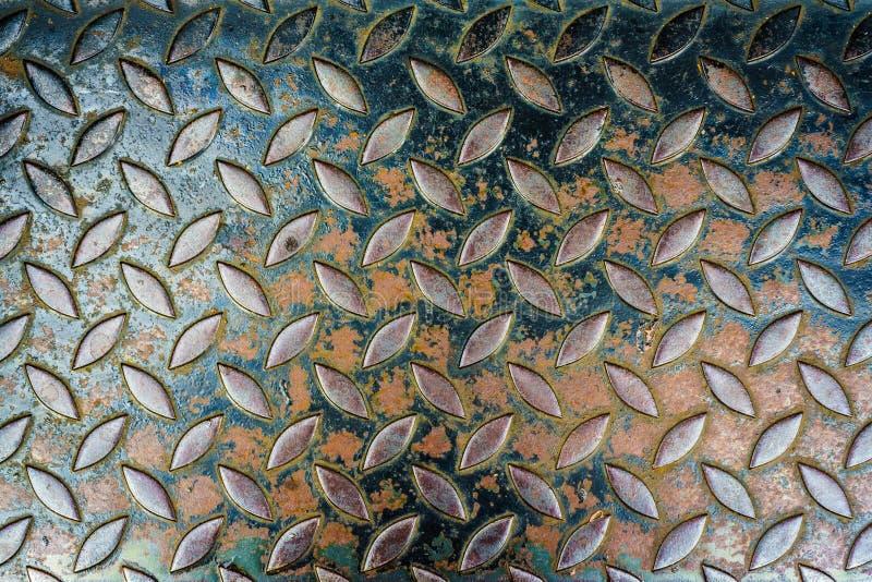 Texturas quadriculado, oxidadas de aço do metal para o fundo fotos de stock
