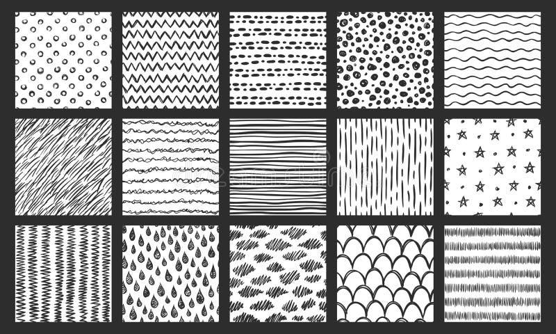Texturas sem emenda tiradas mão Esboce o teste padrão, rabiscar a textura da garatuja e linhas curvadas grupo dos testes padrões  ilustração royalty free