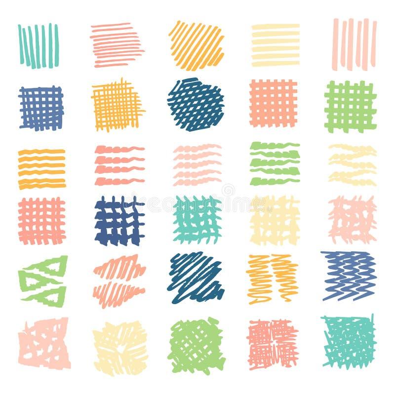 Texturas tiradas ilustração stock