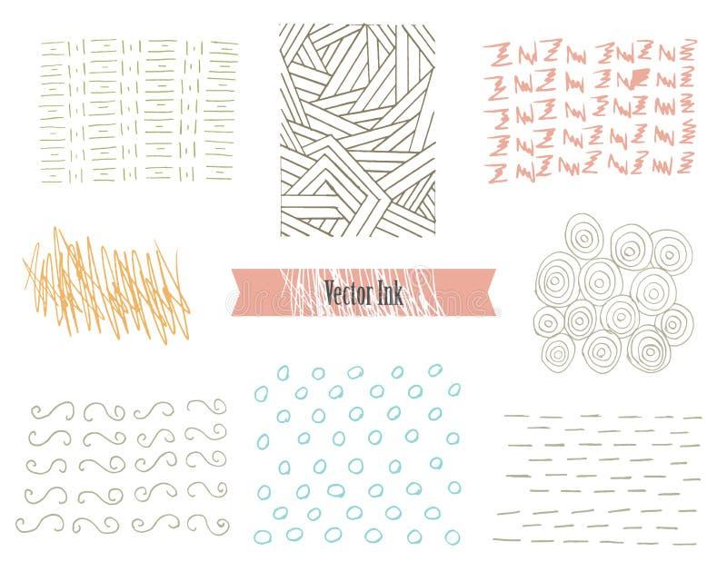 Texturas tiradas mão do moderno feitas com tinta Testes padrões retros para cartazes, insetos e projetos da bandeira O vetor esco ilustração stock