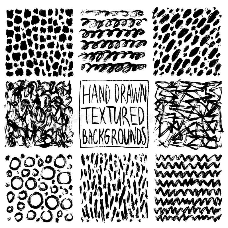 Texturas tiradas mão, molde Chocando o teste padrão tirado, grupo do vetor dos elementos do projeto do vetor de textura do fundo, ilustração do vetor