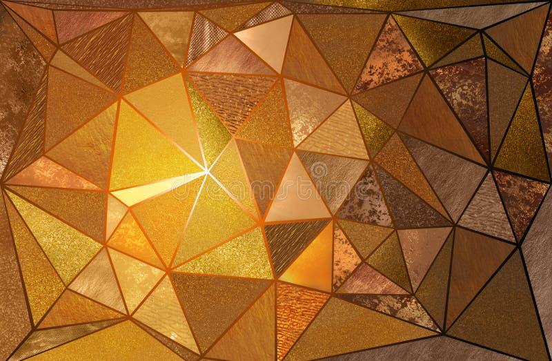 Texturas triangulares del oro fotografía de archivo