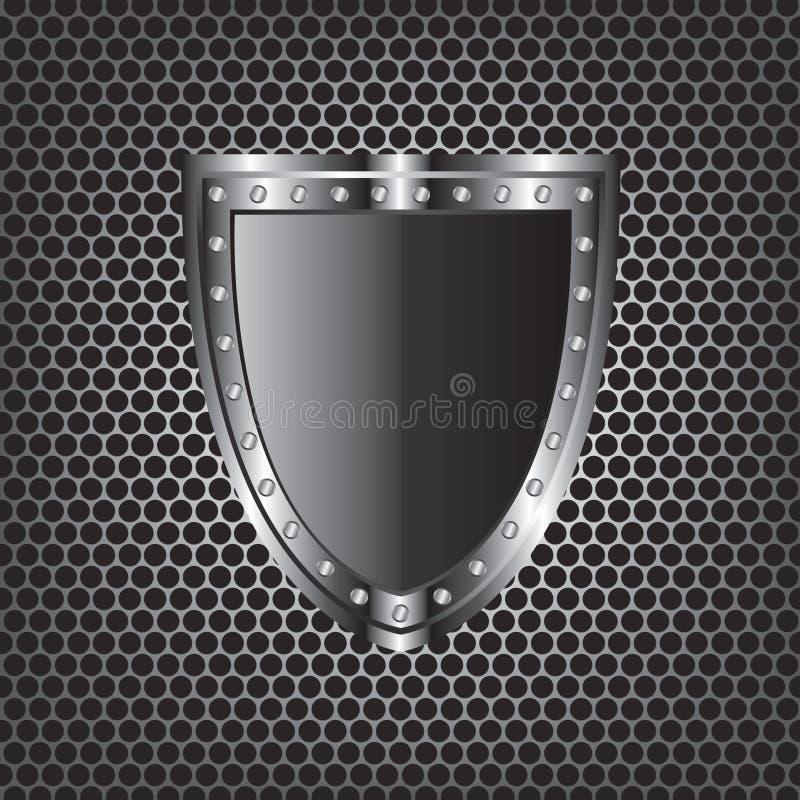 Texturas y escudo del metal stock de ilustración
