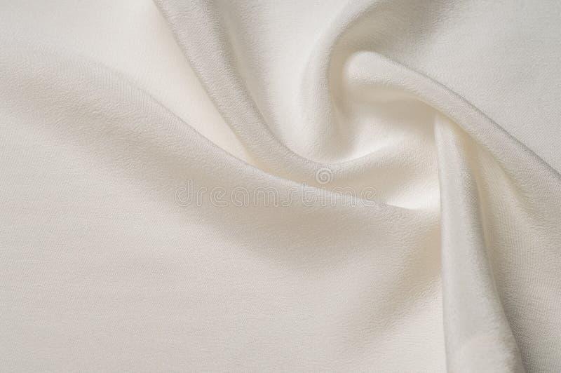 Texturbakgrundsmodell silk white för tyg Closeup av en ripp arkivbild
