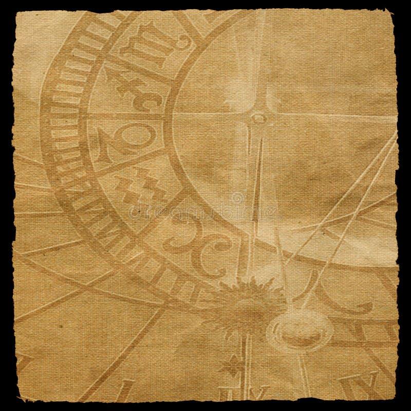 Texture âgée de toile avec la texture d'horloge de zodiaque illustration de vecteur