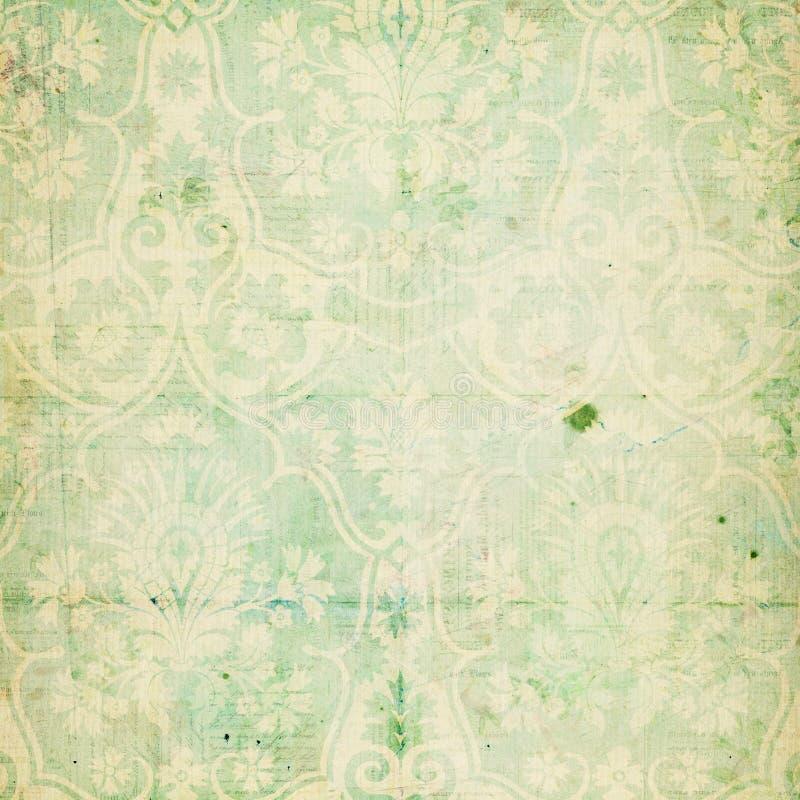 Texture élégante minable verte de damassé de cru photo stock