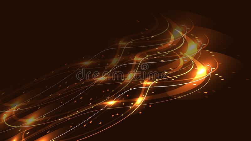 The texture of abstract golden yellow magical glowing bright shining neon lines of waves strips of threads of energy patterns royalty free illustration