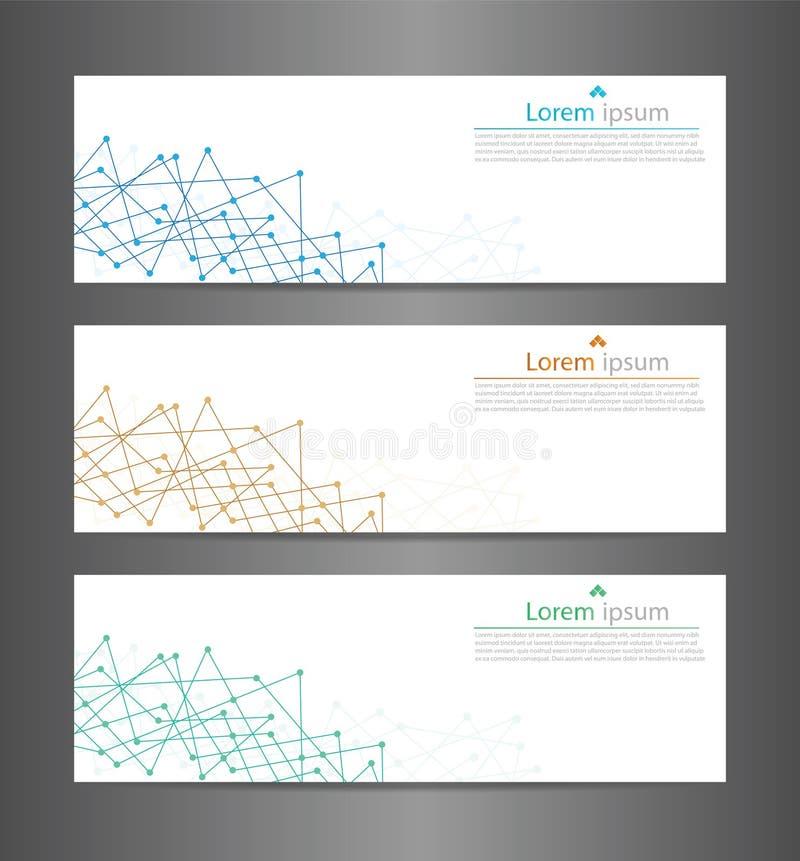 Texture abstraite de bannière de technologie de l'ensemble trois Ba de bannière de vecteur illustration stock