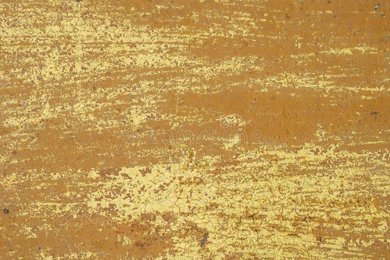 Texture abstraite de fer de fond de fer de fond rouillé jaune de mur vieille photos libres de droits