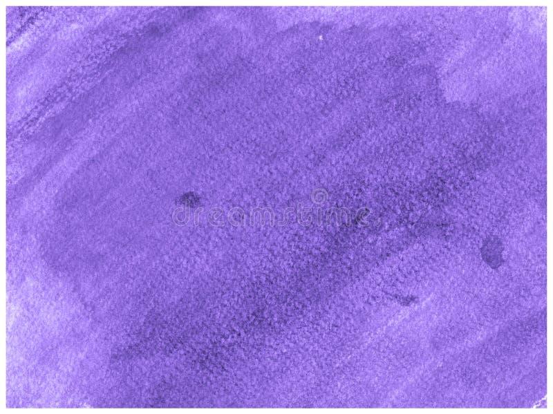 Texture abstraite de peinture d'aquarelle de toile tirée par la main ultra-violette de papier Fond d'?claboussure de trame photo stock